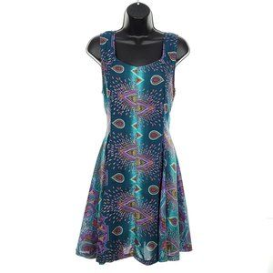 HARMONY Peacock Dress Fit &Flare Sheer Lightweight